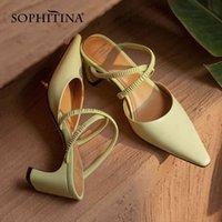 Sophitina الصنادل الصيف اللباس عالية الكعب جلد طبيعي أشار تو ضيق الفرقة ناضجة نمط أبيض المتوسطة النساء الأحذية fo38 210513