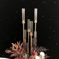 Stickdrop stick da sposa 12 teste Candelabra Arredamento di corridoio di nozze oro oro alto tavola di eventi centrotavola per stand da sposa MMA126