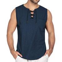 Генераторский Mens Summe Tain Tops Linen повседневные Tees без рукавов Свободные кружевные O-Ceel Streetwear