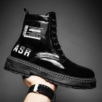 2021 Fashion Men Leisure Martin Boots PU Leather High Top Lace-Up Black Casual Shoes Sneakers Outdoor Wear-Resisting Man Ankle Booties