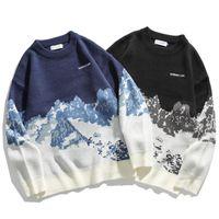 스웨터 남자 스트리트웨어 레트로 패턴 힙합 봄 가을 폴리 에스테르 O 넥 캐주얼 개성 여성 스웨터 남자
