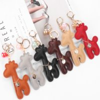 Fashion Luxury Design Candy Color Giraffe Key Chain Ladies Cute Fawn Backpack Car Pendant Charm Leather Animal Key Ring Metal Party Gift Jewelry