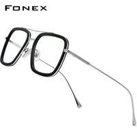 Fonex النقي التيتانيوم خلات الرجال ريترو توني ستارك نظارات إطار قصر النظر الضوئية إديث وصفة النظارات للنساء 8512 210323