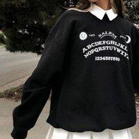 Insgoth Black Grunge Негабаритные толстовки Готический Harajuku Streetwear Chic Письмо Печать Толстовки Женщины осень с длинным рукавом