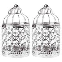 촛불 홀더 작은 장식 tealight 랜 턴 빈티지 birdcage 스타일 테이블 장식 파티 2 팩 (실버)