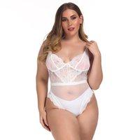 Bras Sets Plus Size Lingere European Clothing Cute Underwear Set One-piece Sexy Bodysuit Hollow Lace Strap Rose Perspective