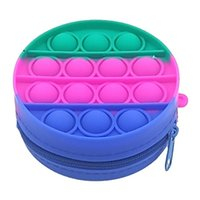 Silicone Rainbow Bubble wallet Fidget Party Simple Dimple Finger Toys Decompression Relief Interactive Coin purse party favor GWA7530