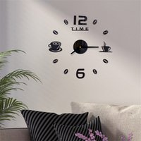 Acrylique Horloge murale bricolage miroir mural horloge Art acrylique 3D miroir autocollant maison décor office cadeau unique RRD7045