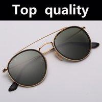 Top Qualität 3647 Runde Metall Glas Linsen Sonnenbrille Frauen Männer Gradient Beschichtung Spiegel Sonnenbrille Männer Frauen 51mm