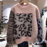 Shengpalae LeoPard Print Polectory цвет круглый воротник пуловер с длинным рукавом 2020 новый весенний вязальный женский свитер LJ200917