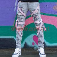 iBug Wholesalekpop skinny ripped korean Hip Hop Fashion Pants cool Mens urban Clothing jumpsuit Men039;s jeans slp