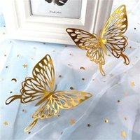 Adesivos de parede 48 pcs 3D Hollow Rose Gold / Golden / Silver Butterfly DIY Art Decalques decalques decoração de casamento