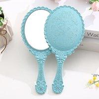 Ручные макияжные зеркала романтические винтажные кружевные руку держат Zerkalo овальный круглый косметический зеркал макияж инструментальный комод подарок AHD6484