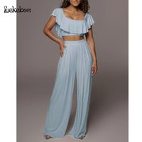 Women's Two Piece Pants Loose Pleated 2 Set For Women Sexy Backless Long Strapless Ruffle Crop Top And Wide Leg Outfits