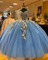 Light Blue Ball Gown Quinceanera Dresses Sequined Beaded Sweet 16 Dress Prom Gowns With Gold Applique vestido de 15 anos