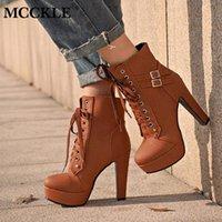 Mcckle Plus Размер ботильоны для гонкинских ботинок женщины платформа высокие каблуки женские оружины женские туфли пряжка женщина короткая ботинка дама обувь