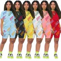 Casual Von Hollandy Outfits Deux Femmes Tracksuits Mode Mode Summer Biker Coton Ensemble Coton
