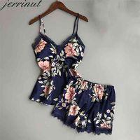 Jerrinut Women Sleepwear Silk Pajamas Set Nightgowns Sexy Lingerie Summer Satin Lace Sleeveles Home Wear With Chest Pad 210723