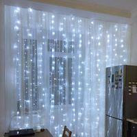 3M LED Tenda Icicle Light String Lights Christmas Ghirlanda Decorazione di nozze Fata per la casa Soggiorno Soggiorno Stringhe di illuminazione per vacanze