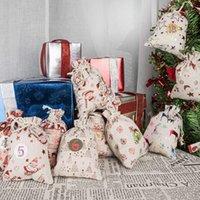 24 / Set decorativi e appesi piccoli sacchetti di stoffa Avvento calendario natale cotone in cotone sacchetto di lino set regalo numeri colorati ZZE5282
