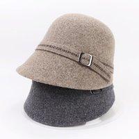 Wide Brim Hats Sparsil 100%Wool Winter Women Warm Bucket Short Edge Adjustable Button Dome Woolen Basin Cap Equestrian Panama Female
