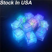 Kare LED Buz Küpleri 7 Renk Değiştirme Işık Yukarı LED Buz Küpleri Glow Buz Küpleri Düğün Dekorasyon için Yenilik Parti Bira Kadeh Şampanya Kupası
