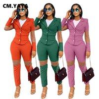 Cm, yaya streetwear mulheres tracksuit malha splicing blazer e calças combinando dois 2 peças set escritório senhora roupa sweatsuit roupas 210930
