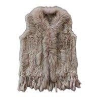 Настоящие дамы подлинный вязаный меховой жилет кролика с енотом, обрезанный жилеткой зимней куртки Harppihop Fur 210826