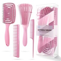 Hair Brushes Brush Set Flex For 3a To 4c Wet Dry Long Detangler Scalp Care Edge Control Kinky Wavy Thick Curly 4Pcs