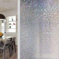 Datenschutz dekorative Fensterfilme 3D Mosaik PVC statisches Kleber befleckt Milchglasaufkleber Selbstklebende Film auf den Aufklebern