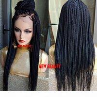 Largo negro marrón rubio color burdeos color jumbo trenzas peluca trenzando sintético pelo frontal tren tren de encaje peluca frontal para mujeres negras