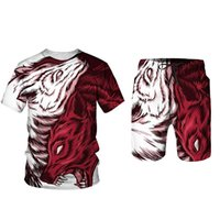 Men's Tracksuits Red Animal Wolf T-Shirt Shorts 2-Piece Set Of Summer Sports Anime 3D Printing Fashion Casual Beach Loose Oversize