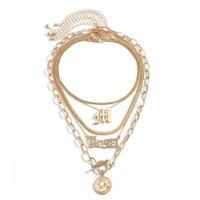 Multi-Layer-Buchstaben-Schlangenkette Halskette für Frauen handgefertigte Chunky Link Kopf Porträt Münze Anhänger Chokers Halsketten
