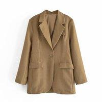 Women's Suits & Blazers YENKEY Vintage Linen Casual Blazer Women Single Button Long Sleeve Spring Autumn Outerwear Female Office Suit Jacket