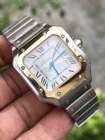 Joan007 Casual Square Watch 33mm Bracelet en acier inoxydable Fashion Womes Montres Quartz Montre-Bracelet Bon cadeau 2 Tons Gold