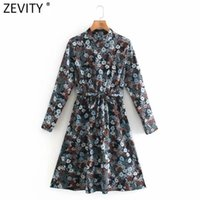 Casual Dresses Zevity Women Vintage Stand Collar Floral Print Lace Up Kneeth Dress Office Ladies Long Sleeve Vestido Slim 4789