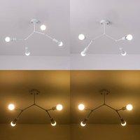 Ücretsiz 3 Kafa 4 LED Avize Oturma Odası Ev E27 Baz 6 Nehri Tavan Lambası Aydınlatma Avizeler