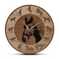 Farmhouse Style Horse Silhouettes Wall Clock Wood Grain Texture Printed Running Horses Art Home Decor Equestrian Gift Clocks