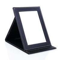 Espejo compacto maquillaje espejo creativo plegable PU cosmético ultrafino escritorio portátil pequeño