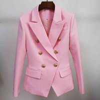 Women's Wool & Blends High street classic designer blazer women's jacket fitting double lion metal buttons breasted WS0B