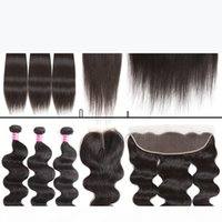 Glace bon marché brésilien vierge cheveux vague de corps droite 3 paquet et fermeture de dentelle 4x4 ou 13x4 en dentelle frontale