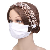 Party Favor Leopard Print Women Hair Bands Button Headband with Mask Head Wrap Hairband Accessories Unisex Running Band