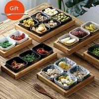 الإبداعية الخزفية شبكة لوحة تخدم طبق صغير اليابانية طبق صغير مع سطح المنزل المجفف فاكهة الخفيفة الدرج