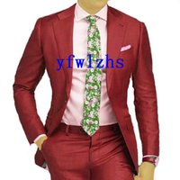 Handsome One Button Groomsmen Notch Lapel Groom Tuxedos Men Suits Wedding Prom Man Blazer ( Jacket+Pantst+Tie) Y302