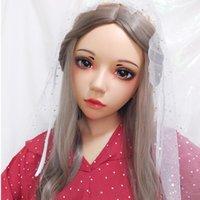 Máscaras de fiesta (ling-5) hembra dulce niña resina media cabeza kigurumi bjd ojos crossdress cosplay japonés anime rol lolita máscara con y peluca