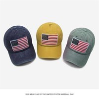 Men's And Women's Cotton Washed American Flag Embroidered Peaked Caps Spring Summer Baseball Cap Fashion Sun Protection Hat Headwe