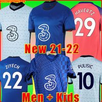 Chelsea CFC PULISIC ZIYECH HAVERTZ KANTE WERNER ABRAHAM CHILWELL MOUNT JORGINHO 축구 유니폼 2020 2021 GIROUD 축구 셔츠 20 21 남성 + 키즈 키트