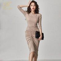 Han Kraliçe Kış Zarif Ofis Elbise Kadın O-Boyun Yüksek Bel Kılıf Kalem Elbiseleri 2021 Ince Parti Bodycon Vestidos Günlük