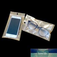 8 * 13 cm Altın / Temizle Fermuar Plastik Ambalaj Çantası Kendinden Mühür Paketleme Çanta Aksesuarları için Delik Kılıfı Polybag Asmak