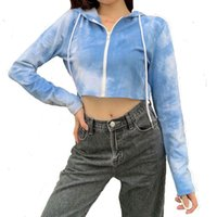 Women Hoodies Sweatshirts high quality long sleeve cotton cropped tie dye hoodies ladies zip up